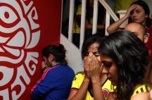 BRA69. SAO PAULO (BRASIL), 03/07/18. - Los torneos colombianos acompañan el partido contra la selección inglesa por los octavos de final del Mundial de Rusia 2018, el martes 3 de julio, en el bar colombiano Gorgona, en Sao Paulo. EFE/Marcelo Chello