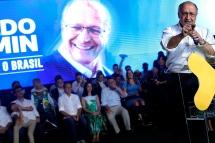 """S""""o Paulo (SP), 28/07/2018, PSDB confirma Jo""""o DÛria como candidato ao governo paulista - O PSDB realizou convenÁ""""o estadual na zona oeste de S""""o Paulo, neste s·bado 28, onde foi confirmada a candidatura de Jo""""o Doria ao governo paulista. Na foto o candidato ‡ presidÍncia da rep˙blica, Geraldo Alckmin. Foto: Marcelo Chello/CJPress/AgÍncia O Globo"""