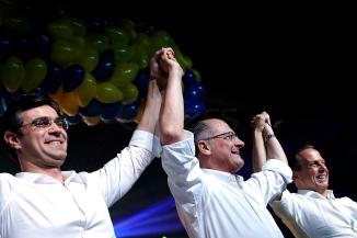 """S""""o Paulo (SP), 28/07/2018, PSDB confirma Jo""""o DÛria como candidato ao governo paulista - O PSDB realizou convenÁ""""o estadual na zona oeste de S""""o Paulo, neste s·bado 28, onde foi confirmada a candidatura de Jo""""o Doria ao governo paulista. E/D: Rodrigo Garcia (DEM), candidato ‡ vice-governador de SP, Geraldo Alckmin, candidato ‡ presidÍncia da rep˙blica e Jo""""o Doria. Foto: Marcelo Chello/CJPress/AgÍncia O Globo"""