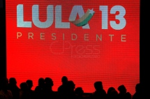 Aug, 2018 - Display shows Lula's name and party number. During a national convention on Saturday, 4, the Workers' Party (PT) officialized the candidacy of former President Lula to run for the presidency of the republic in the October elections. Lula remains in custody at the federal police headquarters in the city of Curitiba since April to serve 12 years and 1 month in prison for corruption and money laundering crimes. (Credit Image: - CJPress/ZUMA Wire/ZUMAPRESS.com)