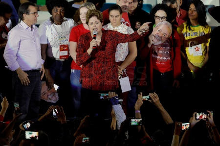 Aug, 2018 - Former President Dilma Rousseff addresses. During a national convention on Saturday, 4, the Workers' Party (PT) officialized the candidacy of former President Lula to run for the presidency of the republic in the October elections. Lula remains in custody at the federal police headquarters in the city of Curitiba since April to serve 12 years and 1 month in prison for corruption and money laundering crimes. (Credit Image: - CJPress/ZUMA Wire/ZUMAPRESS.com)
